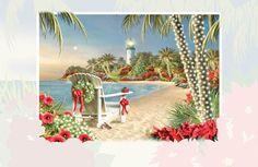 Island Lights Embossed Christmas Cards