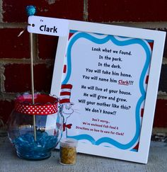"""A Cat In The Hat Party Favor - """"Clark"""" the Fish aka a goldfish plus fish food!"""