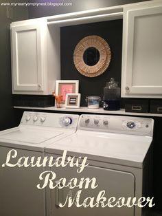 mirror, empti nest, clothespin, cabinet, laundry rooms, paint colors, laundri room, laundry room makeovers, decor idea