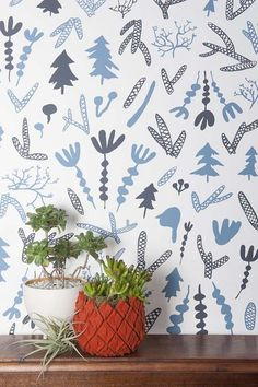 New Wallpaper from Juju Papers on Design*Sponge #wallpaper #juju #blue #flowers #trees