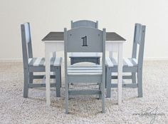 Furniture makeover: children's table & chair set - find an old set in good condition and do something like this