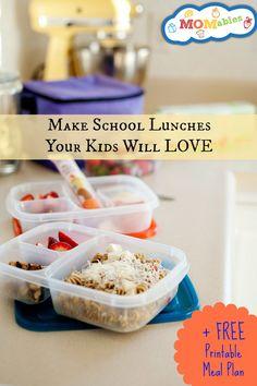 school lunch ideas, meal plans.