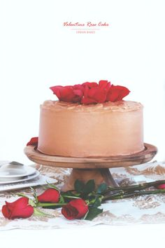 Valentine Rose Cake | urbanbakes.com Red Velvet Cake with Chocolate Whipped Cream - Cream Cheese Frosting!