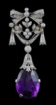 Platinum Diamond Amethyst Pin