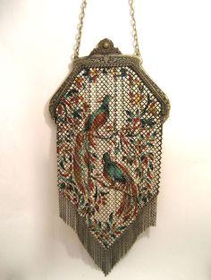 ~Mandalian~Mesh Purse Enameled Birds of Paradise Bag~Circa 1920s~