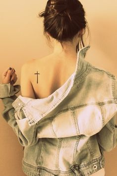 Back shoulder cross tattoo--placement higher; size, thickness, and ratio good