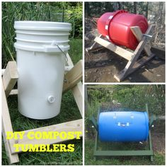 Great instructions from theselfsufficientliving.com on how to make your own compost tumblers from inexpensive materials.