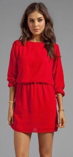 Adorable sleeve red mini dress fashion