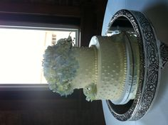 Two tiered white cake with blue hydrangeas
