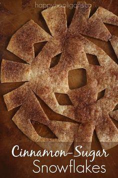 Cinnamon-Sugar Snowflakes - 4 ingredients, 10 minutes. Crispy, crunchy, cinnamon-y sweet deliciousness! - Happy Hooligans