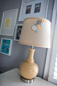 Jazz up a lamp with some fun buttons!  #buttons #lamp #diy photo by Mary Kate McKenna Photography