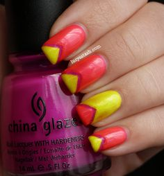 Lucy's Stash: Summer Chevrons manicure feat. China Glaze Beach Cruise-r, Sun-kissed and Love's A Beach http://www.lucysstash.com/2012/07/summer-chevrons-manicure-feat-china.html