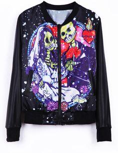 #SheInside  Black Long Sleeve Wedding Skulls Print Jacket - Sheinside.com