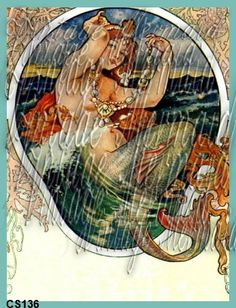Art Nouveau Mermaid Quilt Block Quilting by mermaidfabricshop, $6.99