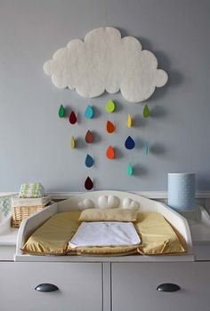 A DIY baby mobile that could be made from some quilt batting (for the cloud) and colored paper or felt (for the raindrops). Perfect for a baby shower and then as nursery decor. Forget babies, I want this in my room.