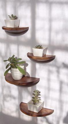 Half round walnut shelf - floating wood shelf