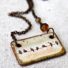 birds on a wire ceramic necklace