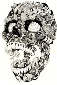 Thinking about screen printing some tote bags - inspiration skulls, shells, skull tattoos, artworks, illustrations, art posters, iain macarthur, skull art, design