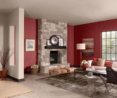 Warm cinnamon living room with Benjamin Moore's Cinnabar (CSP-1165) on the walls. Vote for your favourite painted room! http://houseandhome.com/design/vote-your-favourite-benjamin-moore-colour-stories-room #paint