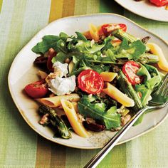 Roasted Asparagus and Tomato Penne Salad with Goat Cheese   CookingLight.com