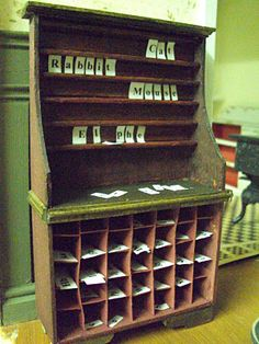 Miniature furniture for the home schoolroom but mght work in my library for collectors' display (Michael's Hutch remodel?) Source: Antique Daisy