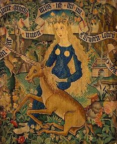 "WILD WOMAN WITH A UNICORN  Tapestry fragment, 30"" x 24"", used as a chairback cover.  From Alsace, on the Upper Rhine, Germany.  About 1500 Basel: Historical Museum"