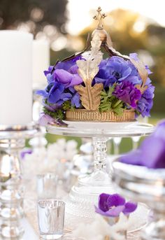 Gold cake stand that is used as a centerpiece  for magical # Purple Wedding ... Wedding ideas for brides, grooms, parents & planners ... https://itunes.apple.com/us/app/the-gold-wedding-planner/id498112599?ls=1=8 … plus how to organise an entire wedding ♥ The Gold Wedding Planner iPhone App ♥