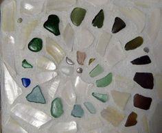 Sea Glass seaglass rainbow colors mosaic, shells, trivet, craft idea, gift ideas