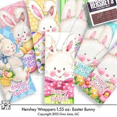 Hershey Easter Candy Bar Wrappers for 1.55oz Regular Size Hersheys. Make hand made do it yourself - DIY - Easter Candy Bar Covers and make someone very happy!   Gina Jane Designs - DAISIE Company