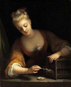 The Athenaeum - Young Girl Feeding Birds (Jean Raoux - )