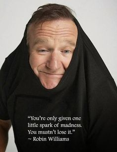 Robin Williams & the Spark of Madness.  Trust me I am keeping hold of mine -- Spark of Madness proclaim it loudly, proclaim it daily and never lose it!
