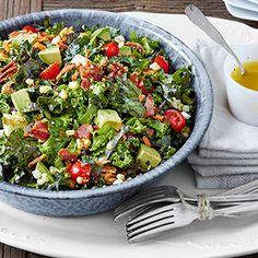 Chopped Collard and Kale Salad with Lemon-Garlic Dressing