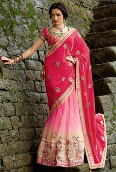 Scenic Shocking Pink, Baby Pink and Cream #Lehenga #Saree