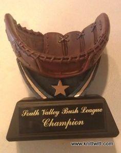 """Baseball Trophy - $20 - Use promo code """"PINTEREST"""" on www.knittwitt.com for 50% off whatever you order!"""