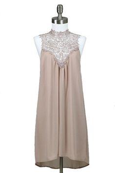 Dreamland Lace Neck Dress - Mocha $52.00