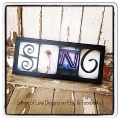 SING   Ready to Ship Mini Wood Sign - Photo letter Art makes great gifts, presents, music, singing, singer, musician, musical.
