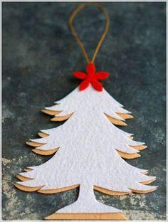 12 Ideas DIY Felt Ornaments for Christmas Tree - white christmas tree felt ornaments