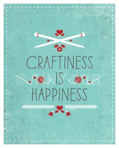 Craftiness Is Happiness - Art Print - Blue - 8x10 - Modern - Home Decor - Under 25. $15.00, via Etsy.