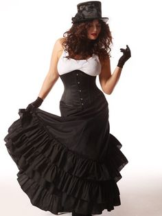 Victorian Skirt- Black Bustle Skirt- Best Seller. For plus sizes. $89.95 #victoriancostume #steampunkcostume