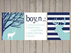 Nursery Art - Kids Wall Art - Boy - A Noise With Dirt On It - Name Print - Chevron Deer - boy definition - hunter nursery - boys room