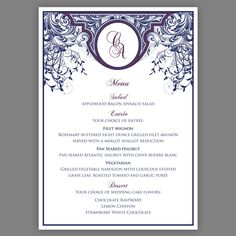 Printable Wedding Menus Dinner Menus Art Nouveau Menus Art Deco Menu Monogram Digital Files for Self-Print DIY. $27.50, via Etsy.
