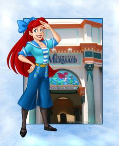 Ariel as a cast member at the new Little Mermaid ride in #CaliforniaAdventure. The outfits for this ride are adorable. (Art by Brianna Garcia) undersea adventur, ariel undersea, costumes, disneyland lovin, garcia art, the little mermaid, sailor, mermaid ride, brianna garcia