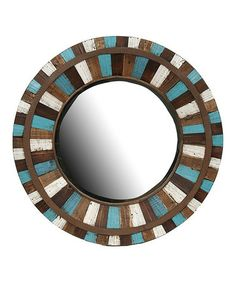 @Jennifer Milsaps Titus Earles  How great would this look in your living room?! I bet you could make it for a fraction of the cost. Look what I found on #zulily! Blue & Brown Round Mirror #zulilyfinds