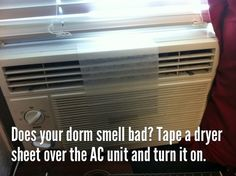 Keep your dorm room or apartment smelling fresh and clean with a dryer sheet make life easier, idea, air freshener, lifehack, life hack, fans, dryer sheet, dorm rooms, colleg