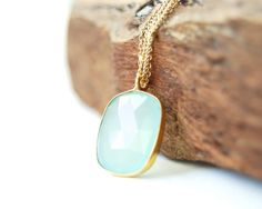 Kaleoaloha necklace  aqua chalcedony gold by kealohajewelry