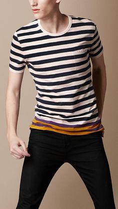 Contrast Colour Stripe T-Shirt