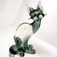 Cat glass figurine