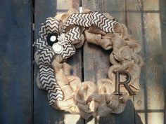 Burlap Wreath - Monogram Wreath- Christmas Wreath - Chevron Wreath - Spring Wreath - Summer Wreath - Rosettes - Pearls