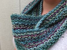 Knit Chunky Teal, green, purple soft infinity loop scarf.