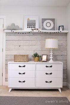 white walls wood accent wall, white dresser ideas, nurseri, old houses, whitewash wood, wood pallets, accent walls, wood walls, babies rooms